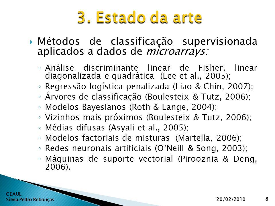 Métodos de classificação supervisionada aplicados a dados de microarrays: ◦ Análise discriminante linear de Fisher, linear diagonalizada e quadrátic