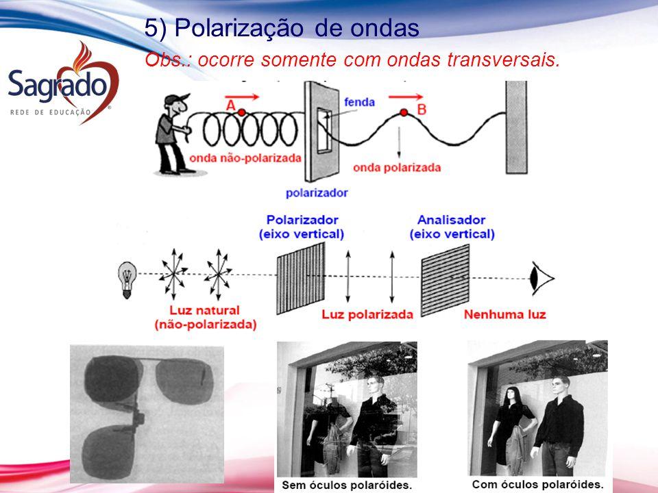5) Polarização de ondas Obs.: ocorre somente com ondas transversais.