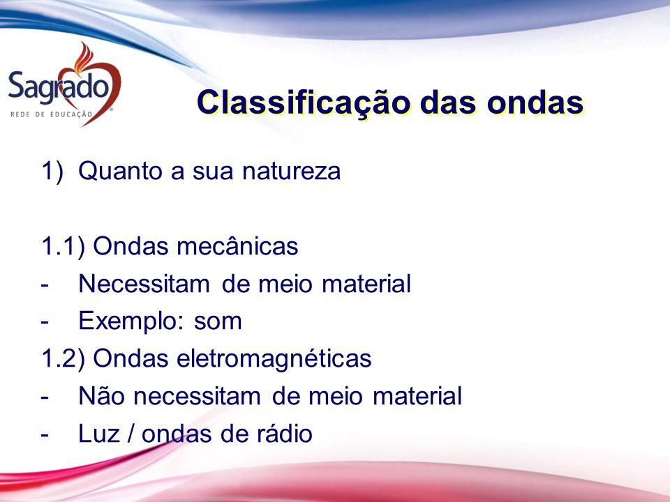 Classificação das ondas 1)Quanto a sua natureza 1.1) Ondas mecânicas -Necessitam de meio material -Exemplo: som 1.2) Ondas eletromagnéticas -Não neces