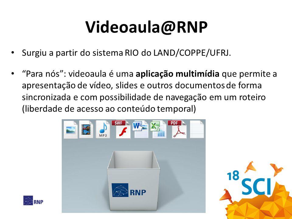 """Videoaula@RNP Surgiu a partir do sistema RIO do LAND/COPPE/UFRJ. """"Para nós"""": videoaula é uma aplicação multimídia que permite a apresentação de vídeo,"""