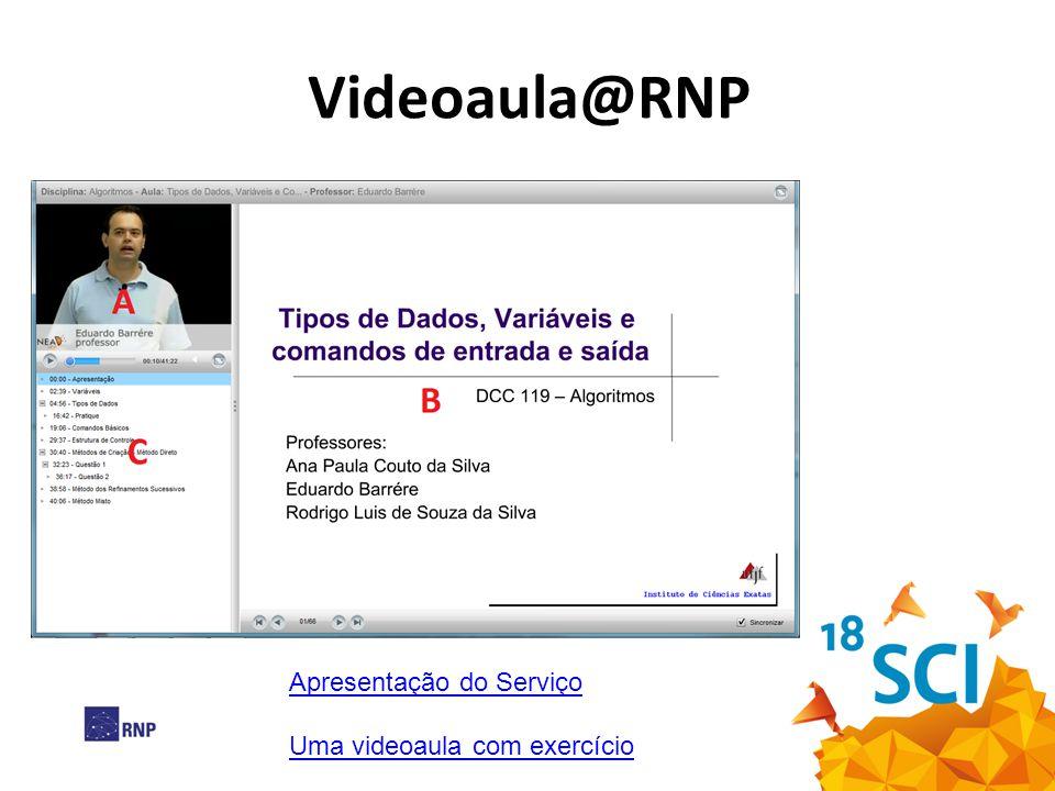 Videoaula@RNP Apresentação do Serviço Uma videoaula com exercício
