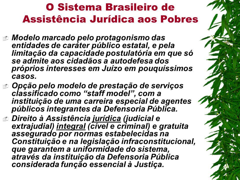 O Sistema Brasileiro de Assistência Jurídica aos Pobres  Modelo marcado pelo protagonismo das entidades de caráter público estatal, e pela limitação da capacidade postulatória em que só se admite aos cidadãos a autodefesa dos próprios interesses em Juízo em pouquíssimos casos.
