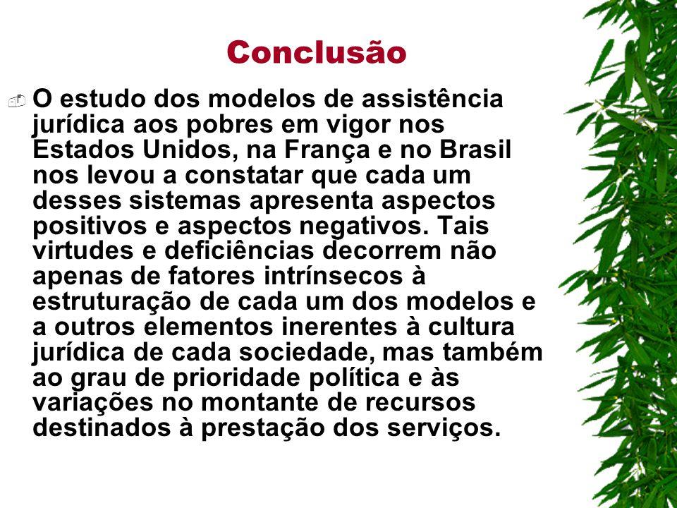 Conclusão  O estudo dos modelos de assistência jurídica aos pobres em vigor nos Estados Unidos, na França e no Brasil nos levou a constatar que cada um desses sistemas apresenta aspectos positivos e aspectos negativos.
