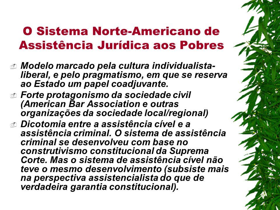 O Sistema Norte-Americano de Assistência Jurídica aos Pobres  Modelo marcado pela cultura individualista- liberal, e pelo pragmatismo, em que se reserva ao Estado um papel coadjuvante.