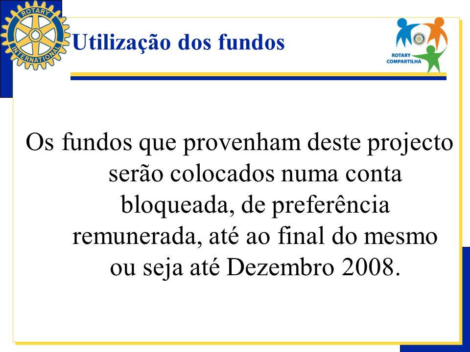 Utilização dos fundos Os fundos que provenham deste projecto serão colocados numa conta bloqueada, de preferência remunerada, até ao final do mesmo ou seja até Dezembro 2008.