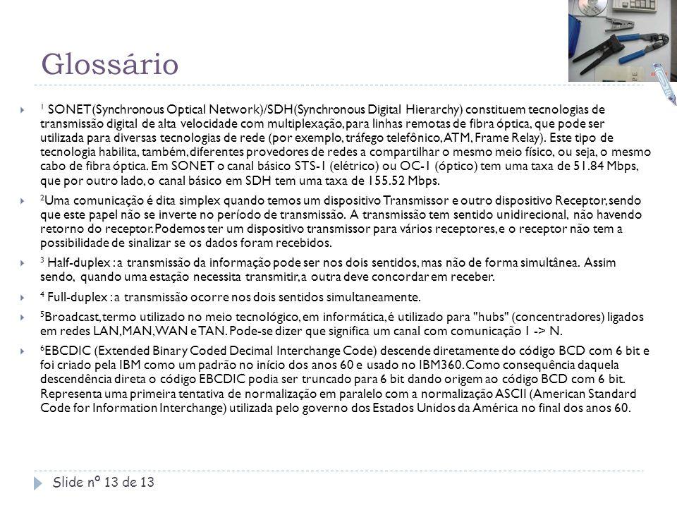 Glossário Slide nº 13 de 13  1 SONET(Synchronous Optical Network)/SDH(Synchronous Digital Hierarchy) constituem tecnologias de transmissão digital de