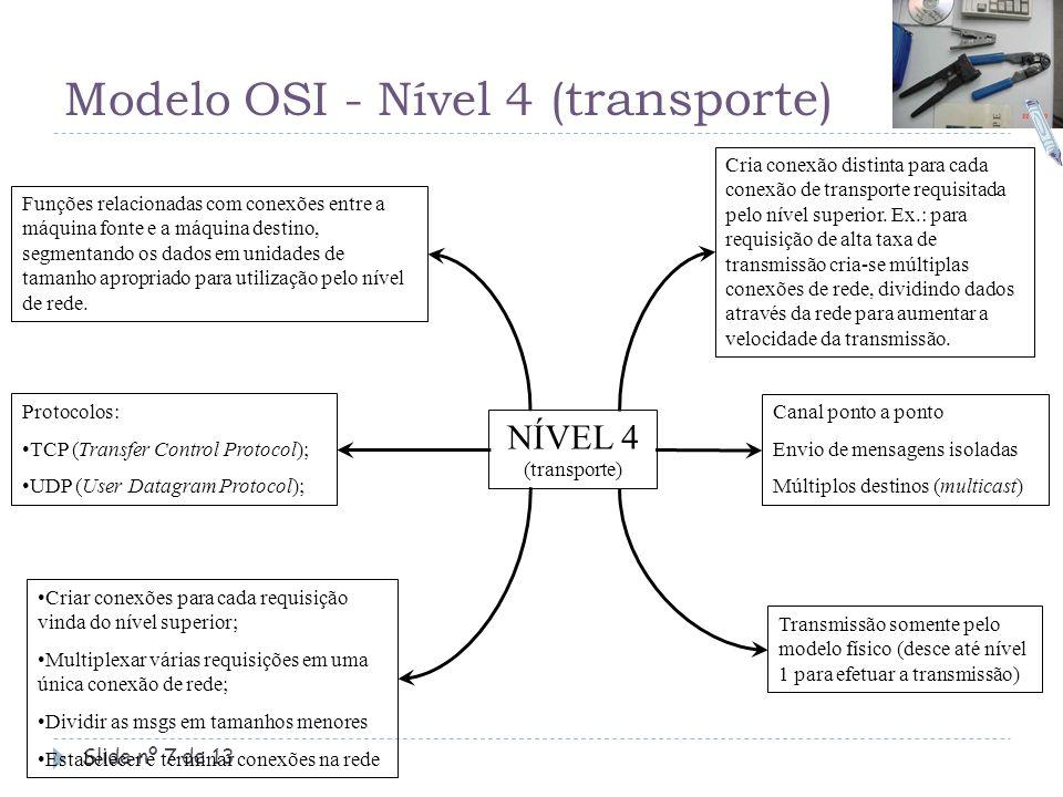 Modelo OSI - Nível 4 ( transporte ) Slide nº 7 de 13 Funções relacionadas com conexões entre a máquina fonte e a máquina destino, segmentando os dados