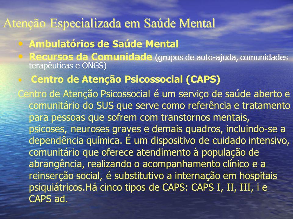 Atenção Especializada em Saúde Mental Ambulatórios de Saúde Mental Recursos da Comunidade (grupos de auto-ajuda, comunidades terapêuticas e ONGS) Cent