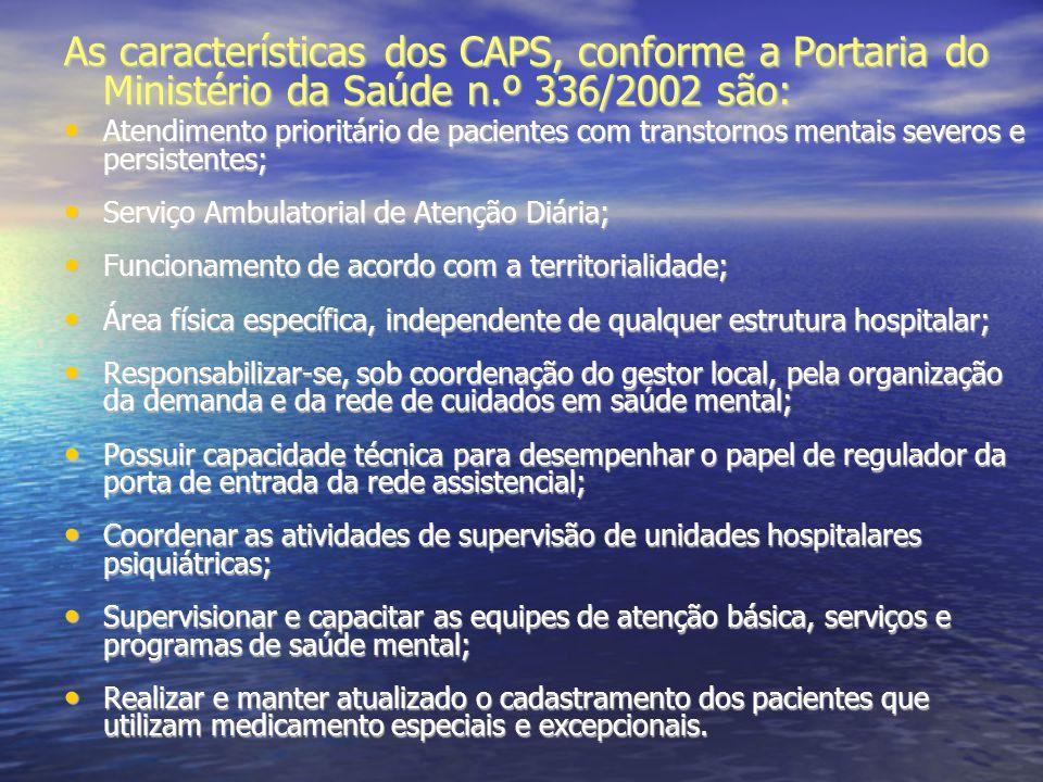 As características dos CAPS, conforme a Portaria do Ministério da Saúde n.º 336/2002 são: Atendimento prioritário de pacientes com transtornos mentais