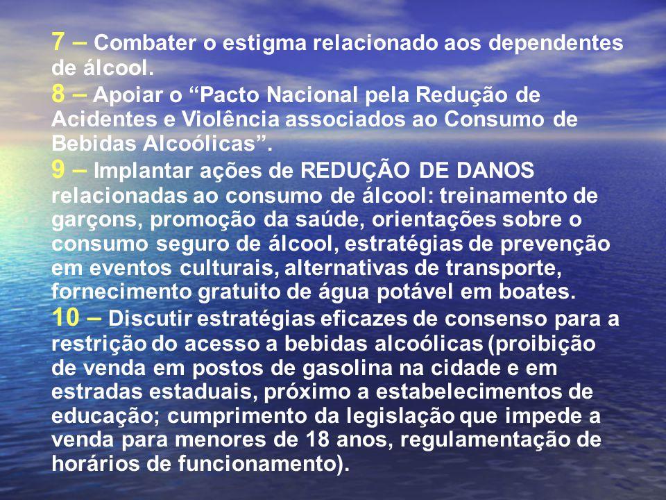 """7 – Combater o estigma relacionado aos dependentes de álcool. 8 – Apoiar o """"Pacto Nacional pela Redução de Acidentes e Violência associados ao Consumo"""