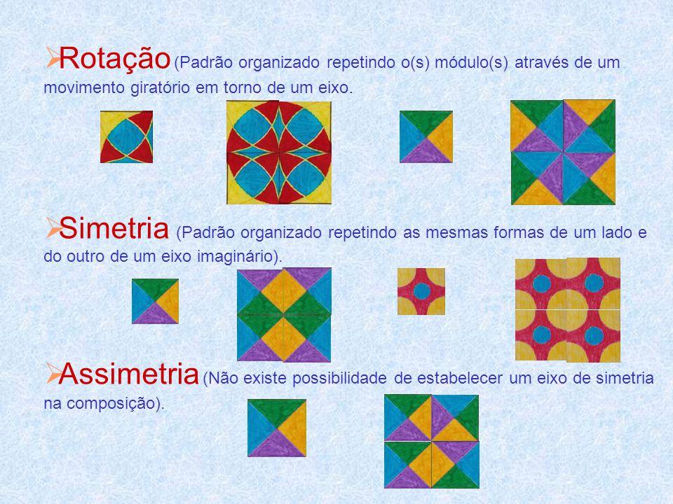 Rotação (Padrão organizado repetindo o(s) módulo(s) através de um movimento giratório em torno de um eixo.
