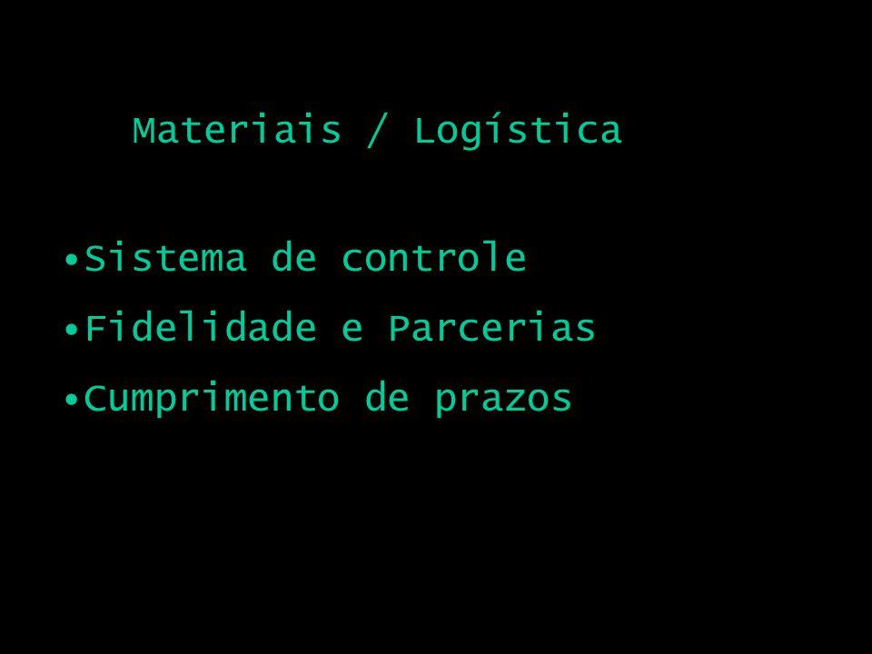 Materiais / Logística Sistema de controle Fidelidade e Parcerias Cumprimento de prazos