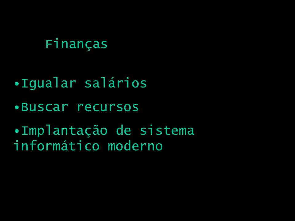 Finanças Igualar salários Buscar recursos Implantação de sistema informático moderno