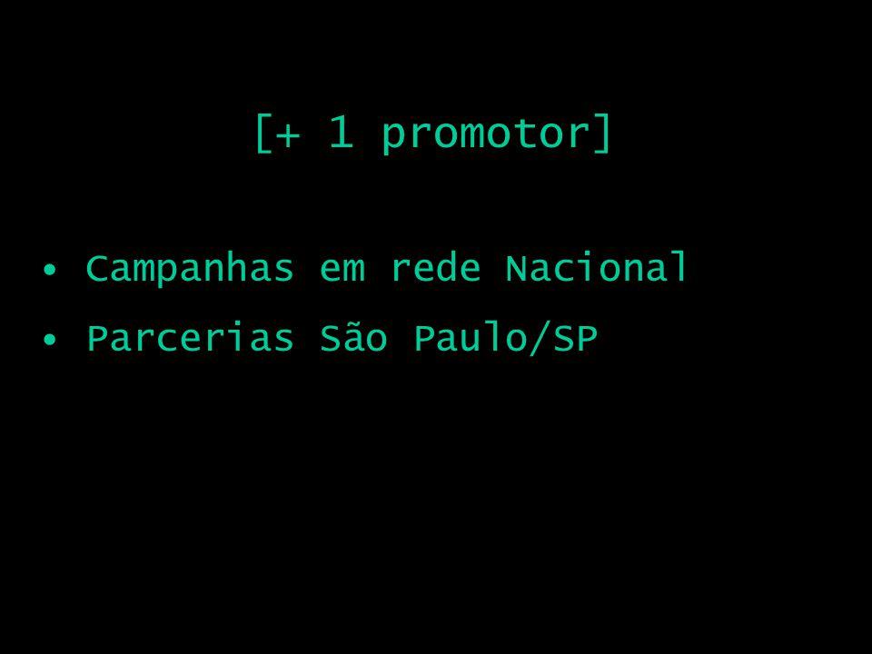 [+ 1 promotor] Campanhas em rede Nacional Parcerias São Paulo/SP