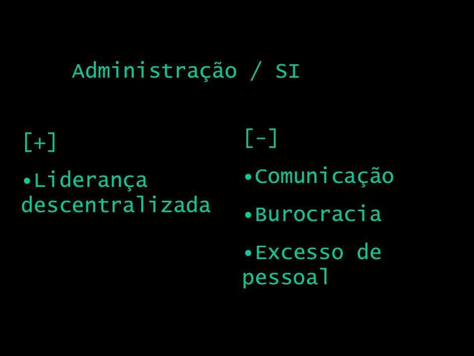 Administração / SI [+] Liderança descentralizada [-] Comunicação Burocracia Excesso de pessoal