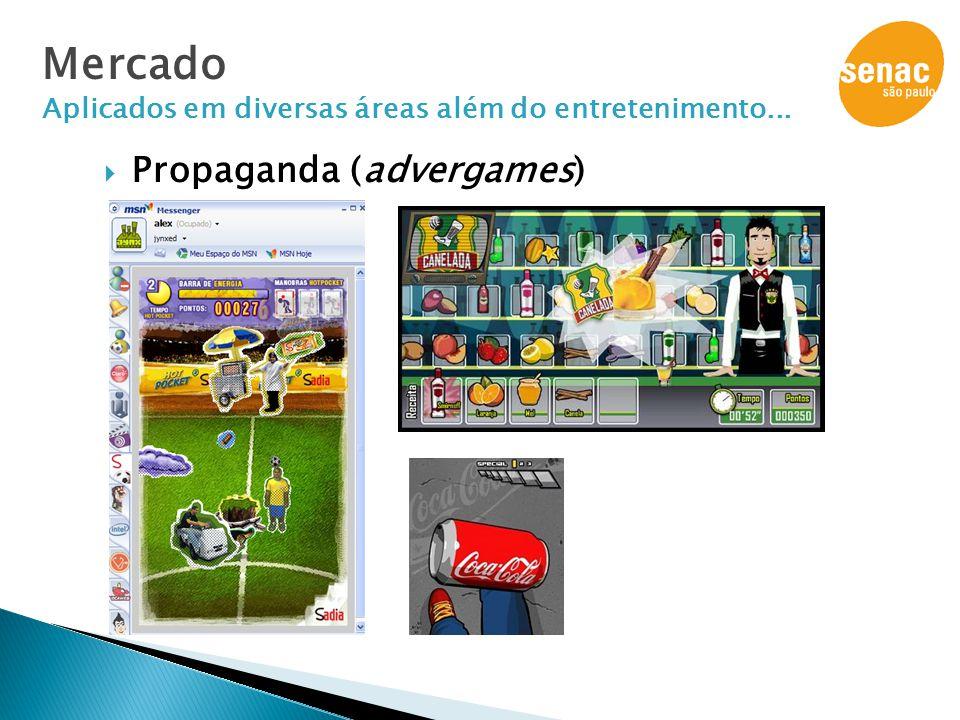  Propaganda (advergames) Mercado Aplicados em diversas áreas além do entretenimento...