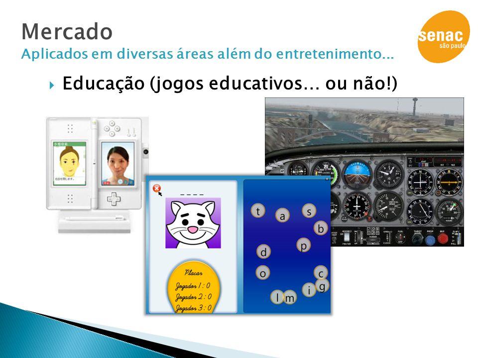  Educação (jogos educativos… ou não!) Mercado Aplicados em diversas áreas além do entretenimento...
