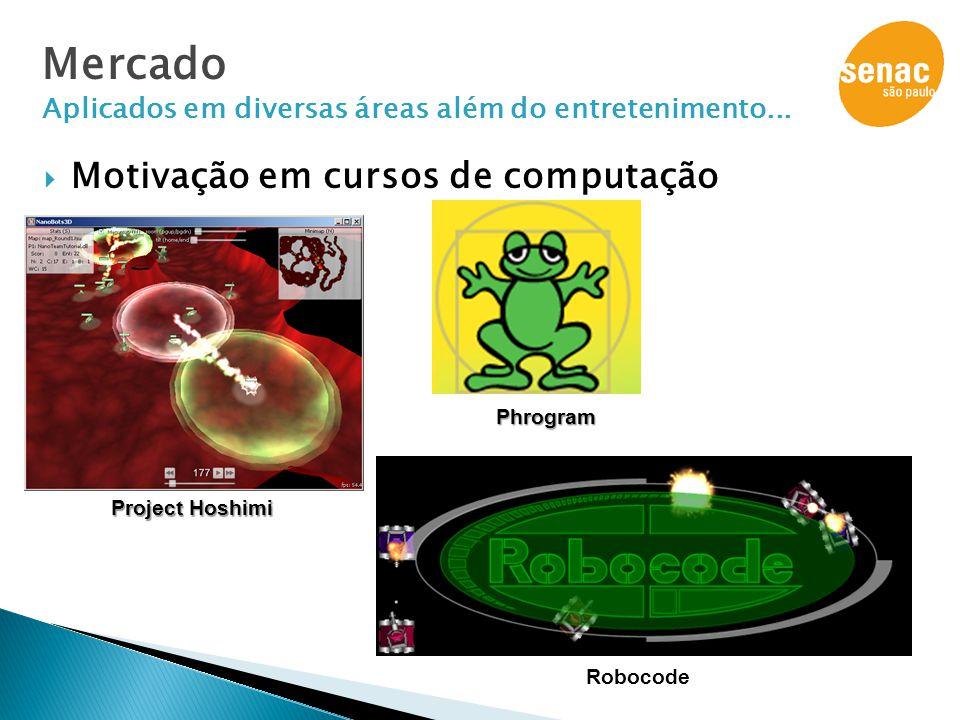  Motivação em cursos de computação Project Hoshimi Phrogram Mercado Aplicados em diversas áreas além do entretenimento... Robocode