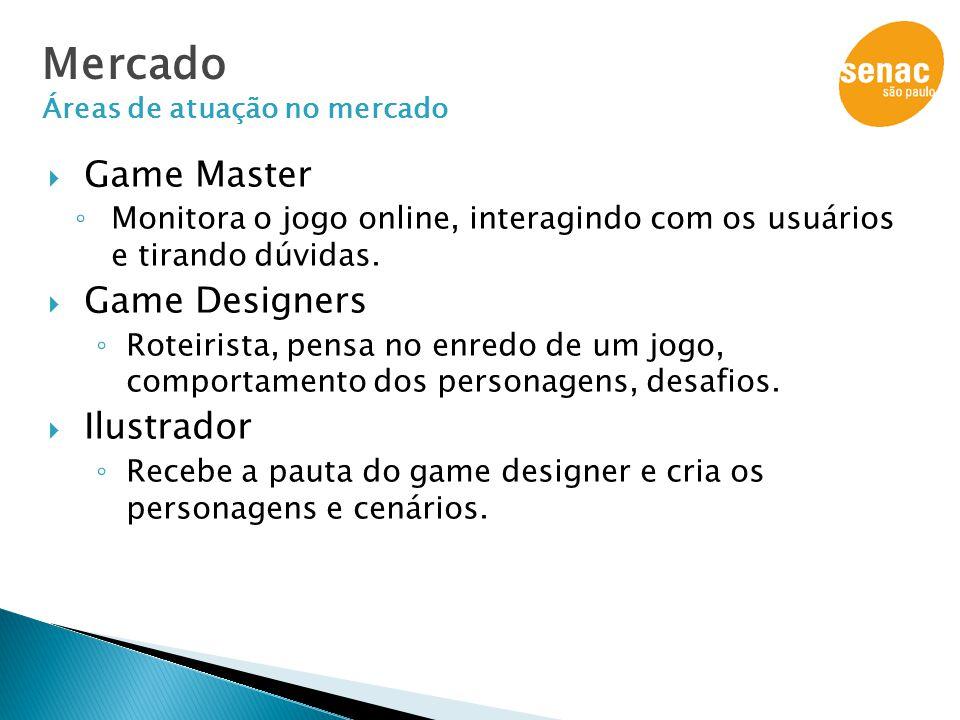  Game Master ◦ Monitora o jogo online, interagindo com os usuários e tirando dúvidas.  Game Designers ◦ Roteirista, pensa no enredo de um jogo, comp