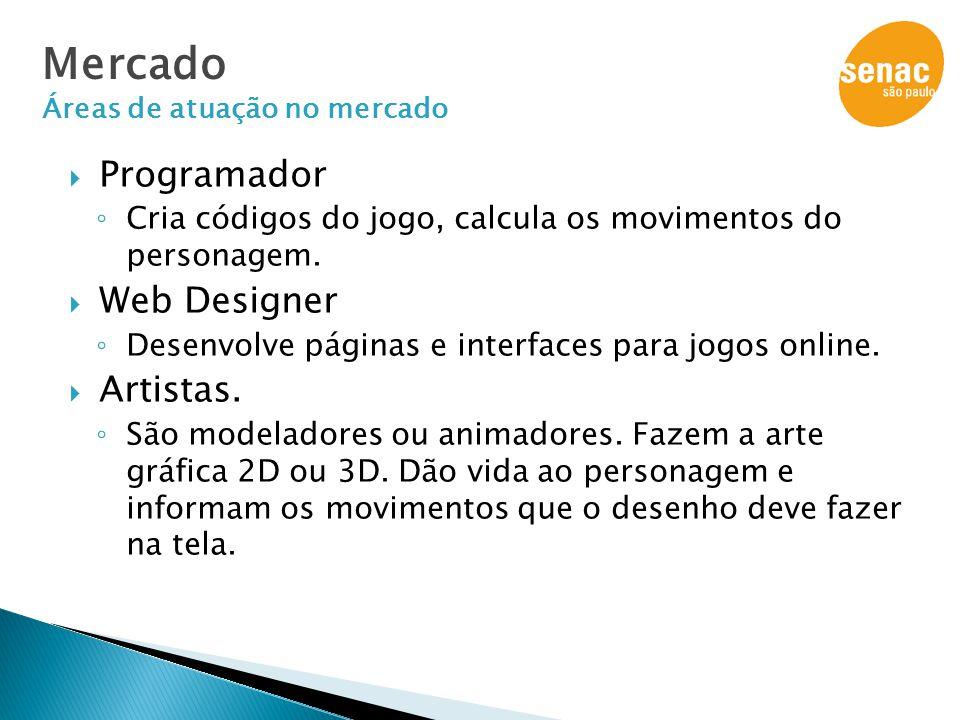  Programador ◦ Cria códigos do jogo, calcula os movimentos do personagem.  Web Designer ◦ Desenvolve páginas e interfaces para jogos online.  Artis