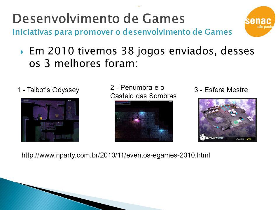  Em 2010 tivemos 38 jogos enviados, desses os 3 melhores foram: Desenvolvimento de Games Iniciativas para promover o desenvolvimento de Games albot's
