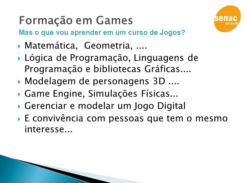  Matemática, Geometria,....  Lógica de Programação, Linguagens de Programação e bibliotecas Gráficas....  Modelagem de personagens 3D....  Game En