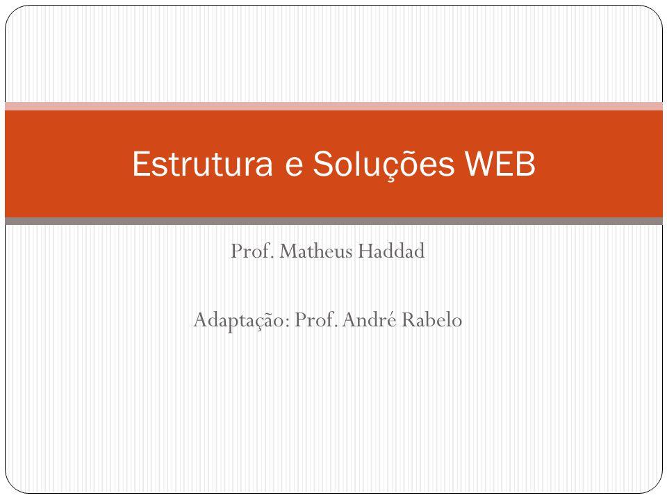 Prof. Matheus Haddad Adaptação: Prof. André Rabelo Estrutura e Soluções WEB