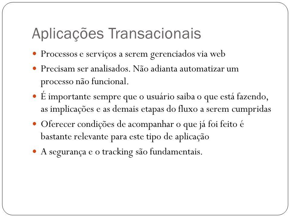 Aplicações Transacionais Processos e serviços a serem gerenciados via web Precisam ser analisados. Não adianta automatizar um processo não funcional.