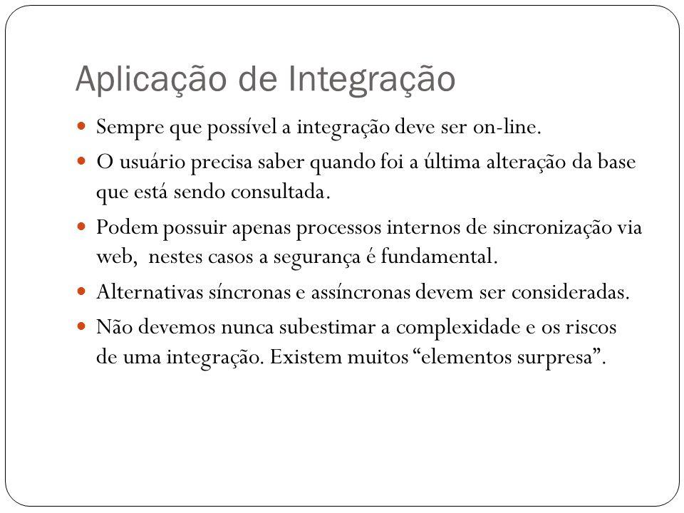 Aplicação de Integração Sempre que possível a integração deve ser on-line. O usuário precisa saber quando foi a última alteração da base que está send