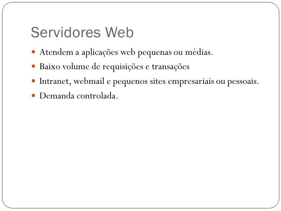 Servidores Web Atendem a aplicações web pequenas ou médias. Baixo volume de requisições e transações Intranet, webmail e pequenos sites empresariais o