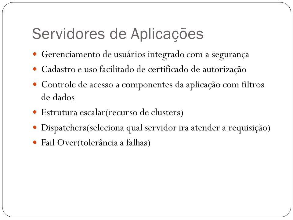 Servidores de Aplicações Gerenciamento de usuários integrado com a segurança Cadastro e uso facilitado de certificado de autorização Controle de acess