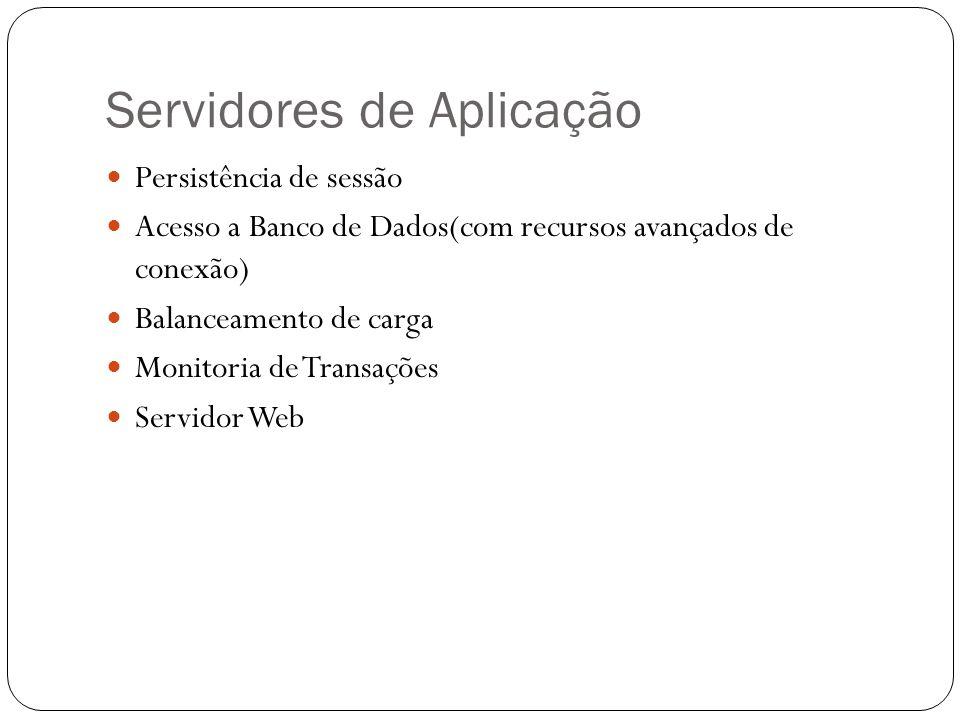 Servidores de Aplicação Persistência de sessão Acesso a Banco de Dados(com recursos avançados de conexão) Balanceamento de carga Monitoria de Transações Servidor Web