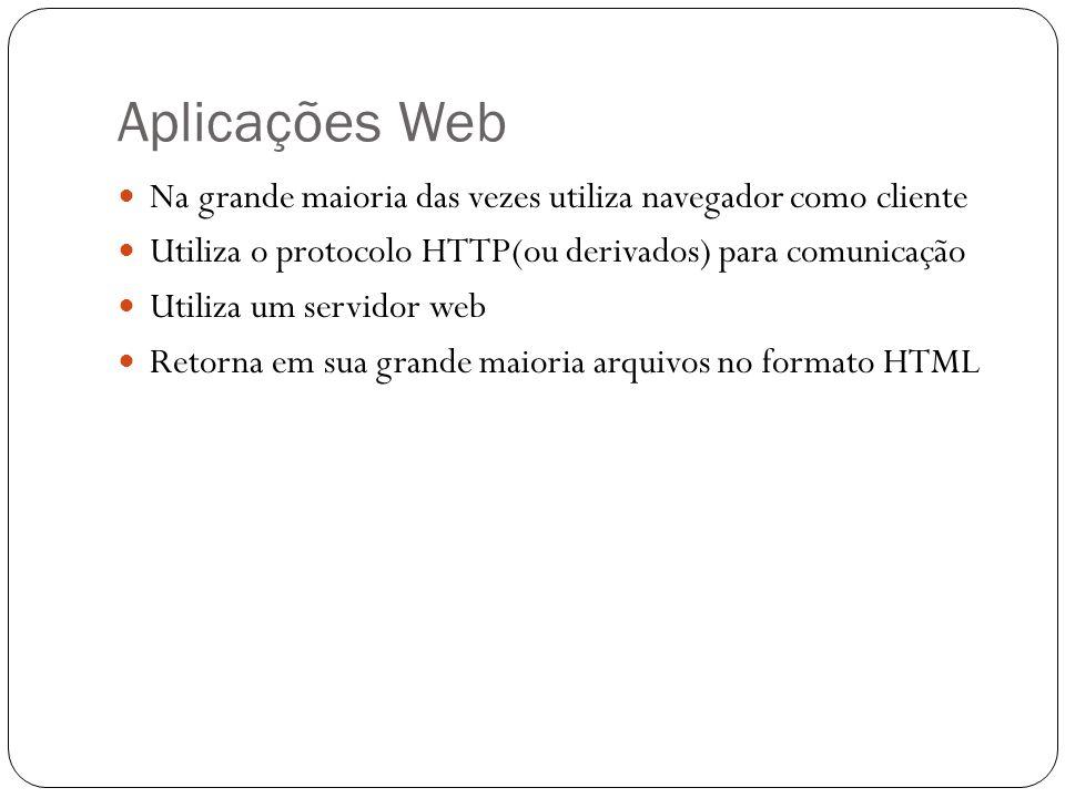 Aplicações Web Na grande maioria das vezes utiliza navegador como cliente Utiliza o protocolo HTTP(ou derivados) para comunicação Utiliza um servidor web Retorna em sua grande maioria arquivos no formato HTML