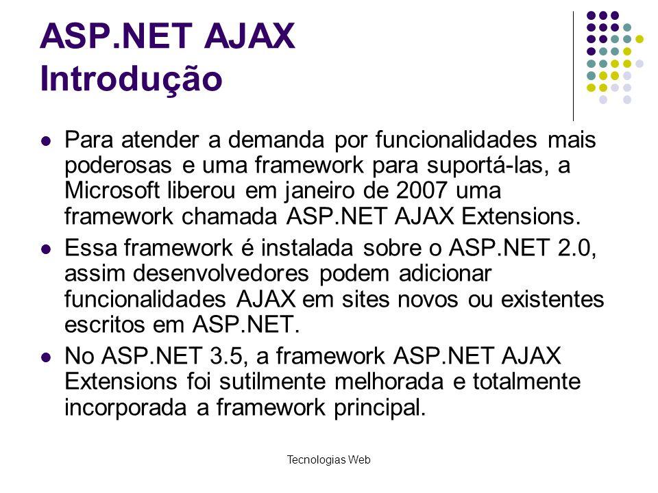 ASP.NET AJAX Introdução Para atender a demanda por funcionalidades mais poderosas e uma framework para suportá-las, a Microsoft liberou em janeiro de