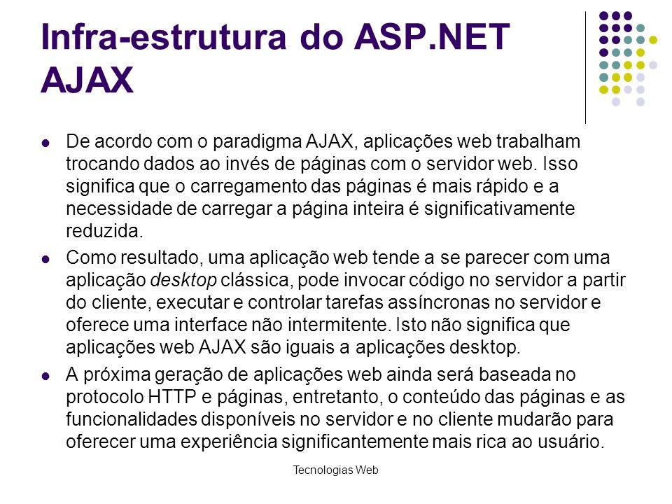 Infra-estrutura do ASP.NET AJAX De acordo com o paradigma AJAX, aplicações web trabalham trocando dados ao invés de páginas com o servidor web. Isso s