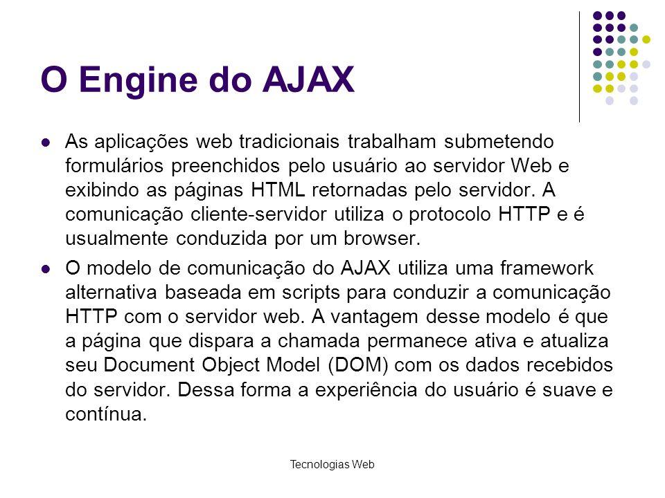 O Engine do AJAX As aplicações web tradicionais trabalham submetendo formulários preenchidos pelo usuário ao servidor Web e exibindo as páginas HTML r
