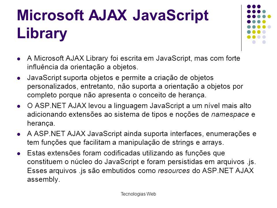 Microsoft AJAX JavaScript Library A Microsoft AJAX Library foi escrita em JavaScript, mas com forte influência da orientação a objetos. JavaScript sup