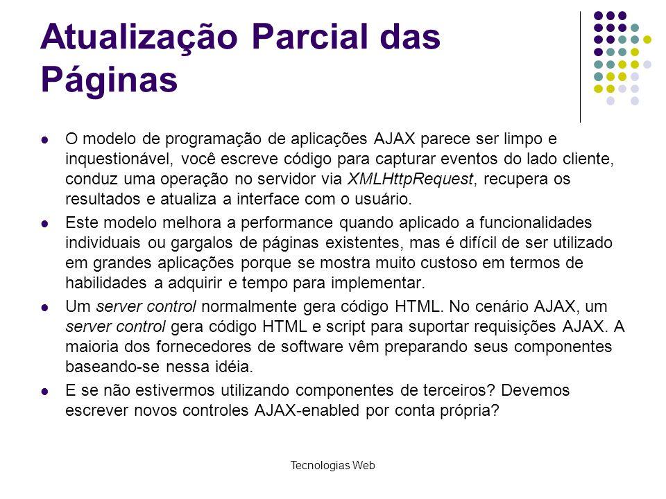 Atualização Parcial das Páginas O modelo de programação de aplicações AJAX parece ser limpo e inquestionável, você escreve código para capturar evento