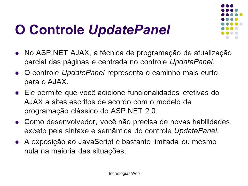 O Controle UpdatePanel No ASP.NET AJAX, a técnica de programação de atualização parcial das páginas é centrada no controle UpdatePanel. O controle Upd