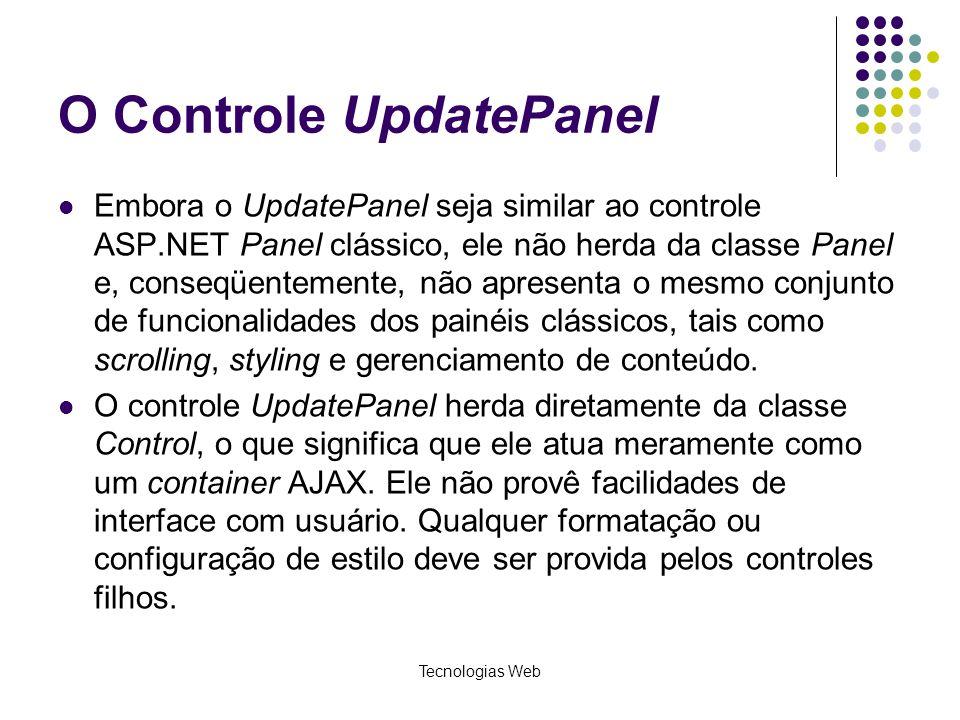 O Controle UpdatePanel Embora o UpdatePanel seja similar ao controle ASP.NET Panel clássico, ele não herda da classe Panel e, conseqüentemente, não ap