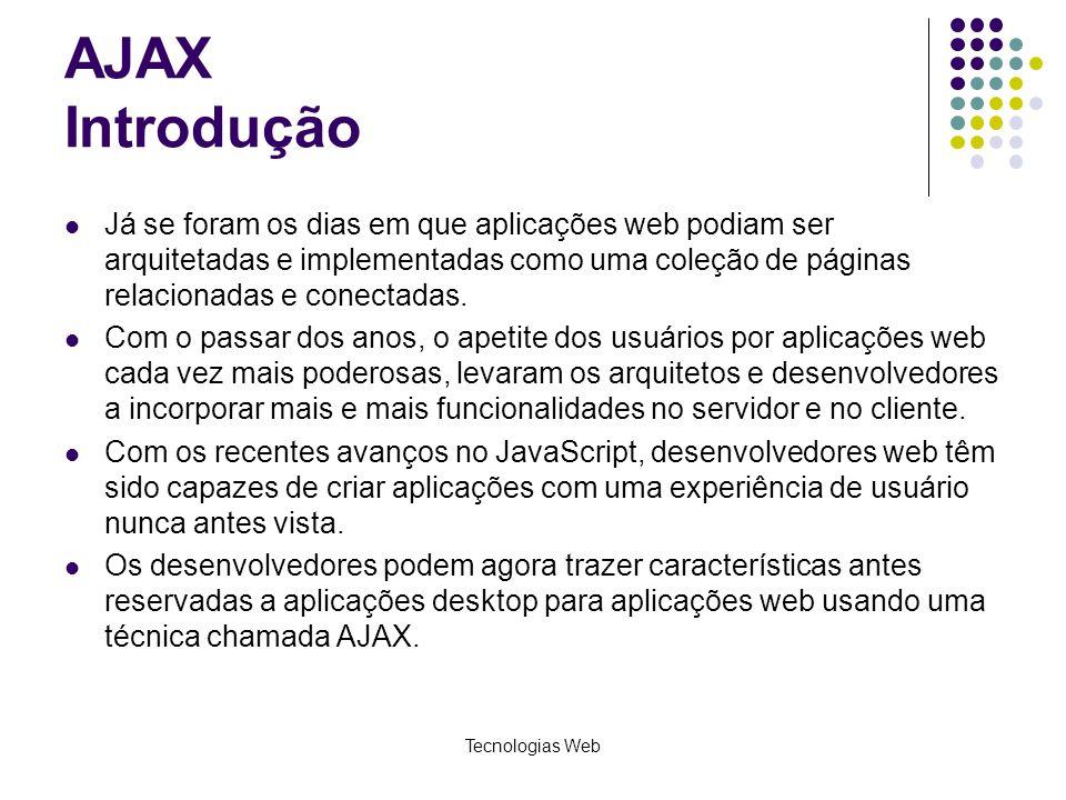 AJAX Introdução Já se foram os dias em que aplicações web podiam ser arquitetadas e implementadas como uma coleção de páginas relacionadas e conectada