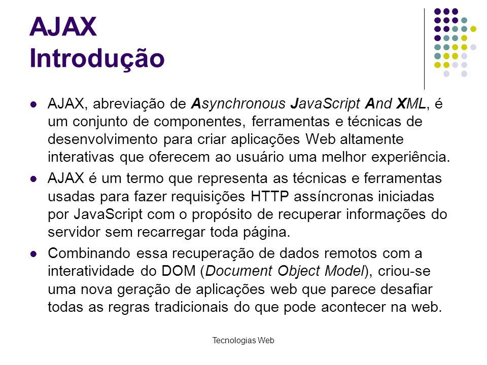 AJAX Introdução AJAX, abreviação de Asynchronous JavaScript And XML, é um conjunto de componentes, ferramentas e técnicas de desenvolvimento para cria