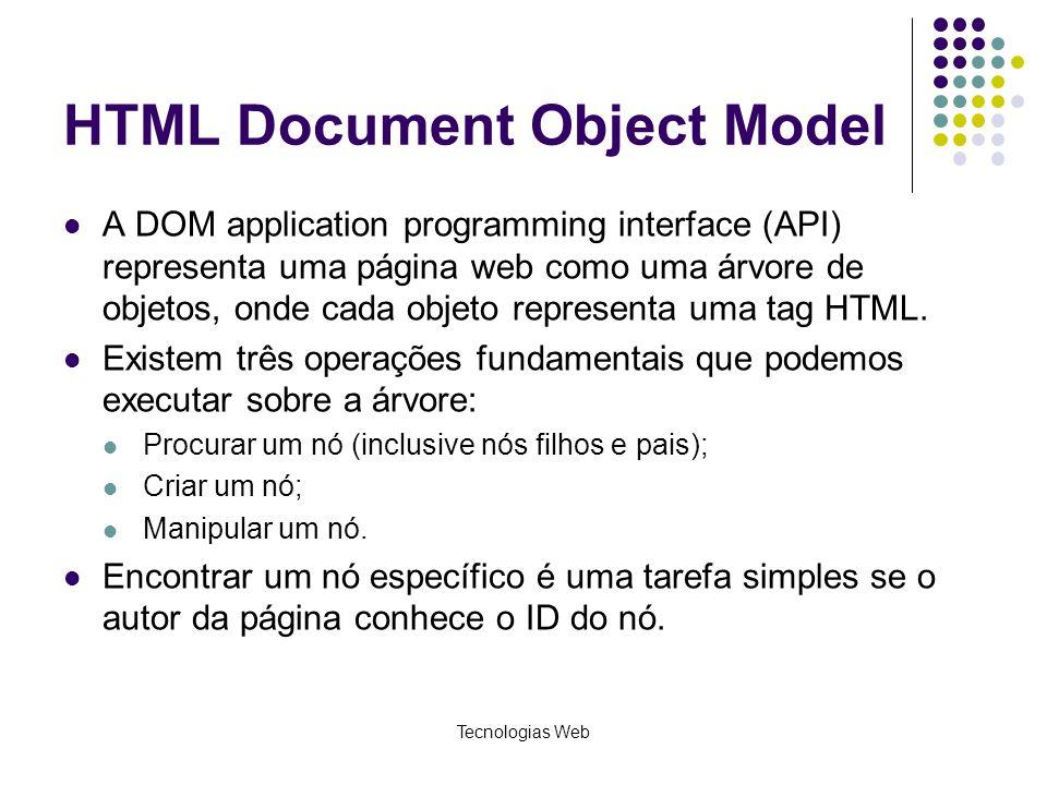 HTML Document Object Model A DOM application programming interface (API) representa uma página web como uma árvore de objetos, onde cada objeto repres
