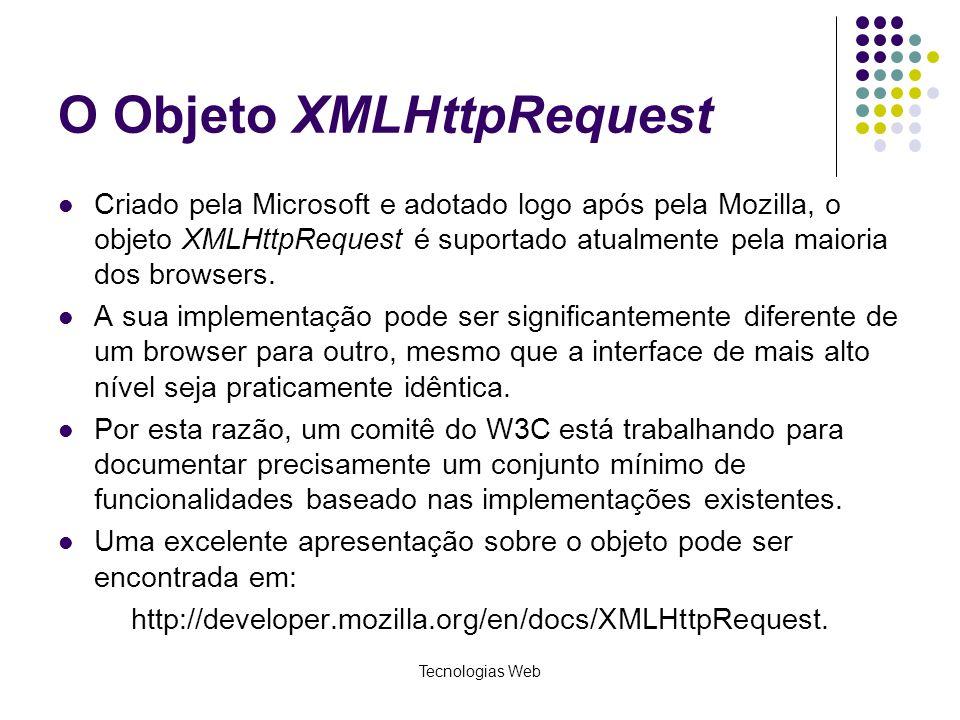 O Objeto XMLHttpRequest Criado pela Microsoft e adotado logo após pela Mozilla, o objeto XMLHttpRequest é suportado atualmente pela maioria dos browse