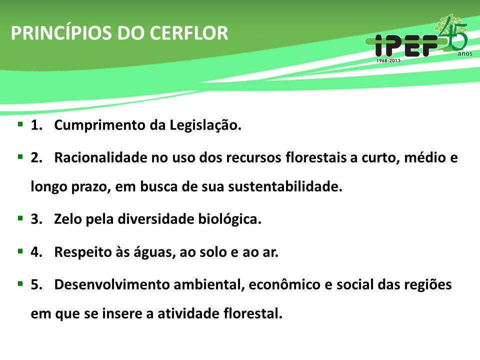 PRINCÍPIOS DO CERFLOR  1. Cumprimento da Legislação.  2. Racionalidade no uso dos recursos florestais a curto, médio e longo prazo, em busca de sua