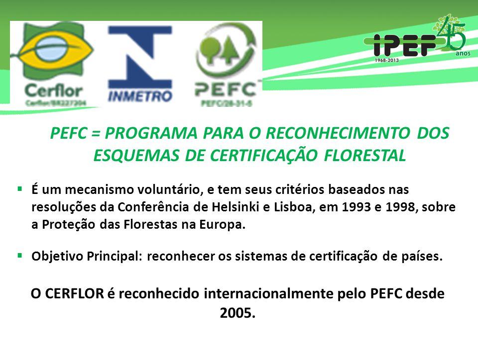 PEFC = PROGRAMA PARA O RECONHECIMENTO DOS ESQUEMAS DE CERTIFICAÇÃO FLORESTAL  É um mecanismo voluntário, e tem seus critérios baseados nas resoluções