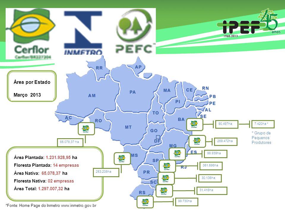 269.472ha 351.596ha Área Plantada: 1.231.928,95 ha Floresta Plantada: 14 empresas Área Nativa: 65.078,37 ha Floresta Nativa: 02 empresas Área Total: 1