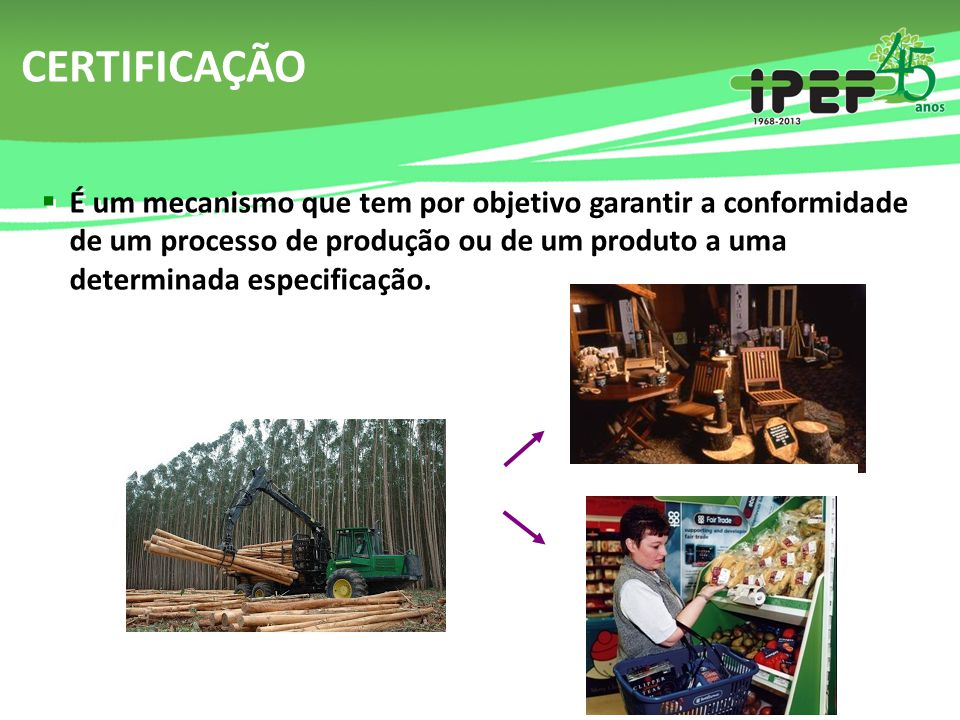 CERTIFICAÇÃO FLORESTAL Deve garantir que a madeira utilizada em determinado produto é oriunda de um processo produtivo manejado de forma ambientalmente adequada, socialmente justa e economicamente viável, e no cumprimento de todas as leis vigentes.