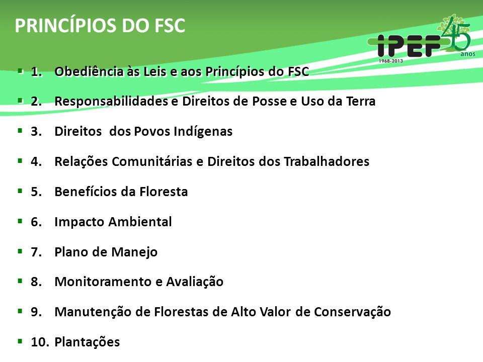 PRINCÍPIOS DO FSC  1. Obediência às Leis e aos Princípios do FSC  2. Responsabilidades e Direitos de Posse e Uso da Terra  3. Direitos dos Povos In