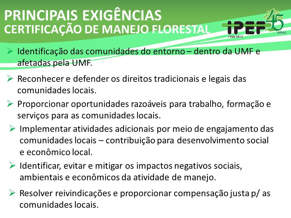  Identificação das comunidades do entorno – dentro da UMF e afetadas pela UMF. PRINCIPAIS EXIGÊNCIAS  Reconhecer e defender os direitos tradicionais